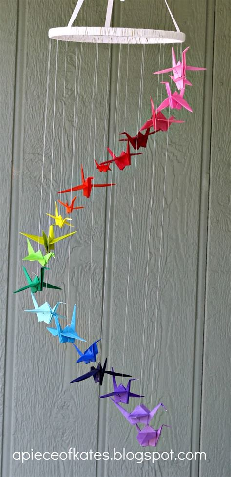 how to make hanging l with paper origami crane rainbow mobile sugar bee crafts