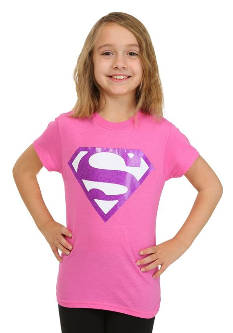 Girls Pink Glitter Superman Logo TShirt
