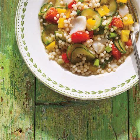 couscous israelien au poisson  aux legumes ricardo