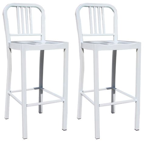 amerihome 2 metal counter height chair set white