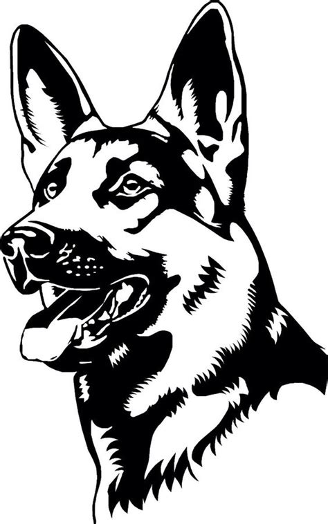 german shepherd coloring page vector dxf file   axisco