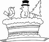 Coloring Winter Christmas Pages Season Cake Drawing Nature Clipart Printable Holiday Cliparts Colouring African American Castle Clip Sand Outline Cakes sketch template