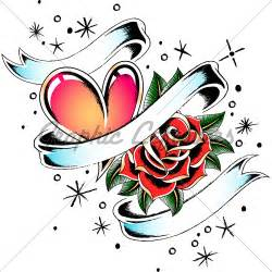Heart with Ribbon and Rose Tattoos