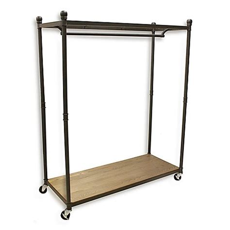 metal clothing racks buy refined closet rolling garment rack with wood base and metal top shelf from bed bath beyond