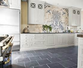 White Kitchen Cabinets Gray Tile Floors