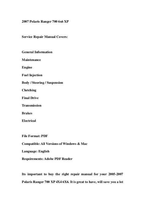 2005 2007 polaris ranger 700 xp 4x4 6x6 service repair workshop manua