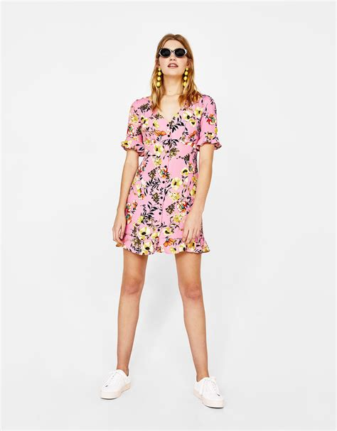 v neck embroidered a line dress 39 s dresses summer collection 2018 bershka