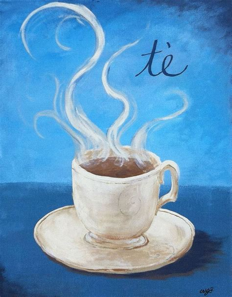 1:20:55 artist angela anderson teaches how to paint a simple coffee or hot cocoa mug with easy to follow acrylic painting instruction. Tea Cup - 11x14 Custom Original Kitchen painting on canvas ...