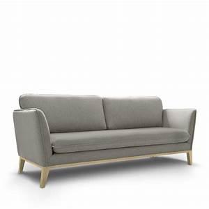 Canapé 3 Places : canap 3 places tissu et pieds bois calo by modalto drawer ~ Louise-bijoux.com Idées de Décoration