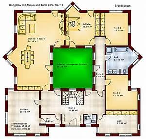 Atrium Bungalow Grundrisse : atrium 289 30 12 bungalow mit turm schloss einfamilienhaus neubau massivhaus stein auf stein ~ Bigdaddyawards.com Haus und Dekorationen