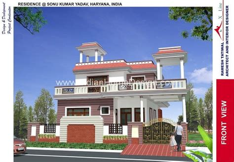 3d exterior view of north indian style house kohima