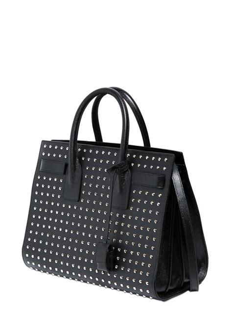 saint laurent small sac de jour studded leather bag