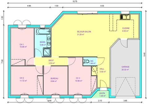plan maison plain pied 3 chambres avec garage résultat de recherche d 39 images pour quot plan de maison plain