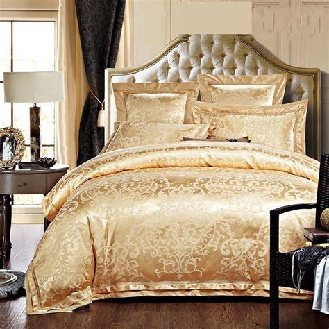 gold comforter set luxury jacquard silk bedding sets king size 4pcs