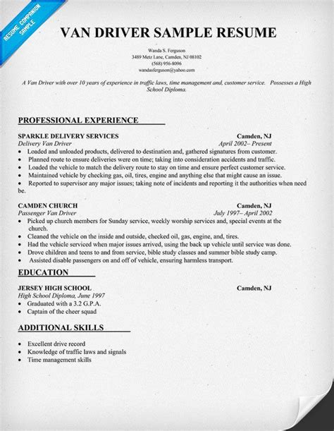 Resume Truck Driver Position by Driver Resume Sle Resume Ideas