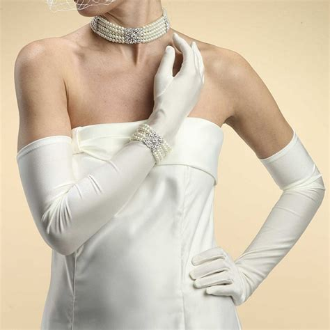 Opera Length Wedding or Prom Gloves - Shiny Satin