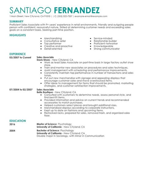 Retail Salesperson Resume by Part Time Sales Associates Resume Sle My Resume