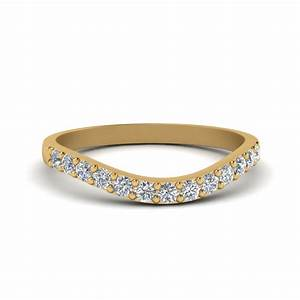 curved diamond wedding ring for women in 14k yellow gold With curved diamond wedding ring