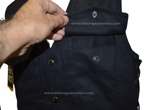 Men's Black Denim Motorcycle Club Vest (lightweight