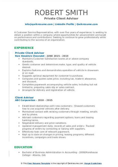 client advisor resume samples qwikresume
