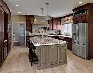 traditional cherry cabinets with medium brown painted island 1234