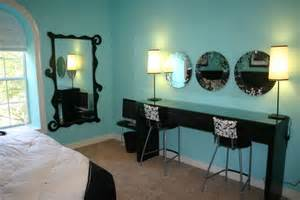 tiffany blue teen bedroom beauty bar with custom shaped