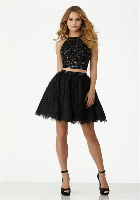Two Piece Party Dress with Fully Beaded Net Top and Lace Skirt   Style 33026   Morilee
