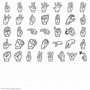 american sign language alphabet digital set With american sign letters