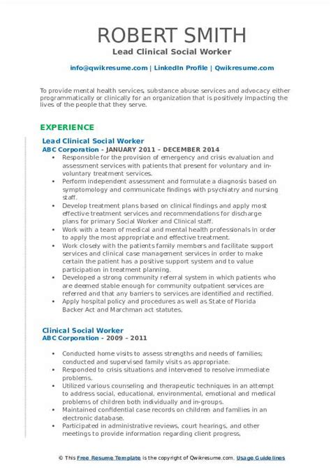 clinical social worker resume samples qwikresume