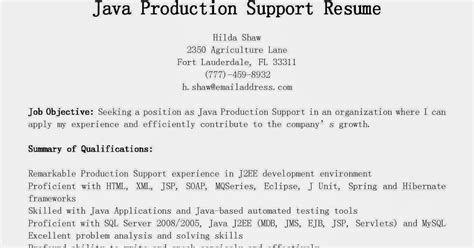 resume sles java production support resume sle