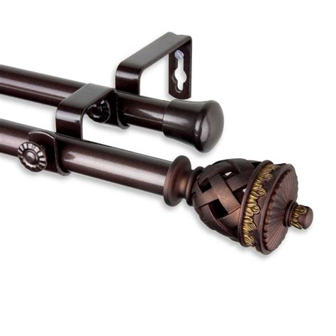 telescoping curtain rod kit rod desyne 48 in 84 in telescoping curtain rod