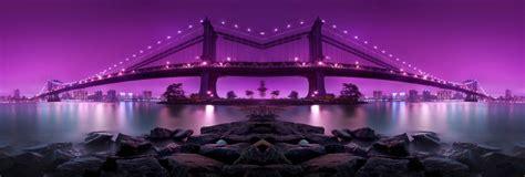 bridge photography purple city night wallpaper