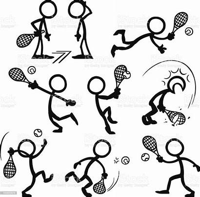 Stick Figure Tennis Playing Vector Figures Illustration