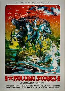 the rolling stones vintage concert poster from honolulu