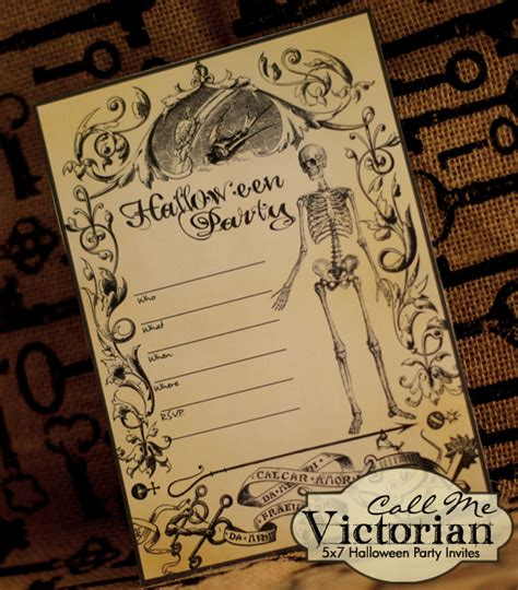 printable halloween party invitations call  victorian