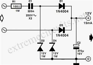 low power 12v transformerless power supply circuit diagram With transformerless ac to dc power supply circuits electronic projects