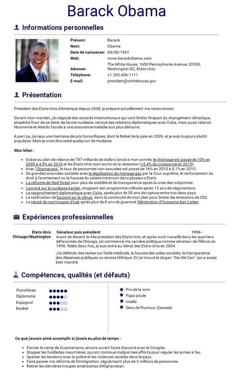 Le Cv by On A Imagin 233 Le Cv De Barack Obama Qui Sera Bient 244 T Au