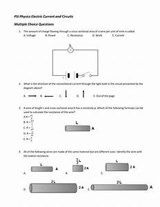 Psi Physics Electric Current And Circuits Multiple Choice