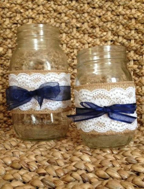 rustic wedding decorations burlap and lace mason jar