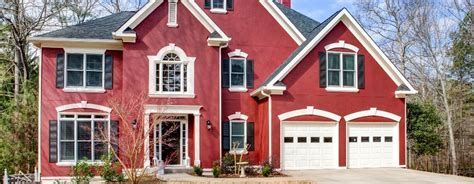 stucco home painted red patsy overton interiors