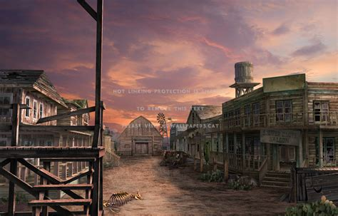 wild west ghost town sky buildings old 3d