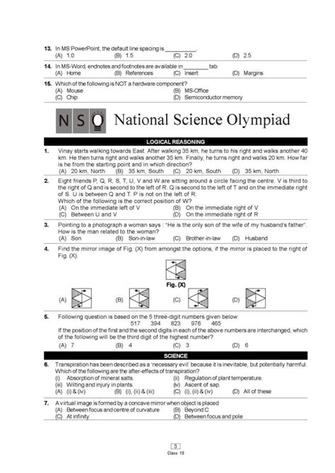sle papers science olympiad class 5 nso class 10