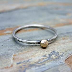 solid 14k gold and sterling silver hand carved faceted With alternative to soldering wedding rings