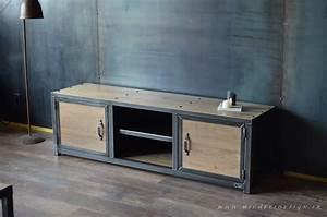 Meuble Tv Style Industriel Acier Bois MICHELI Design