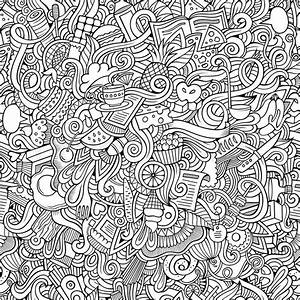 Cartoon vector doodles hand drawn food seamless pattern