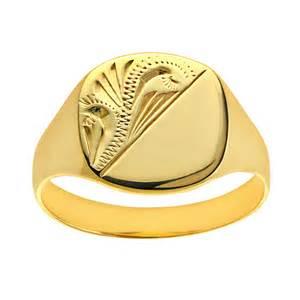Ladies Engraved Cushion Signet Ring Ladies 9ct Yellow