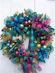 wreath with turquoise lime green and