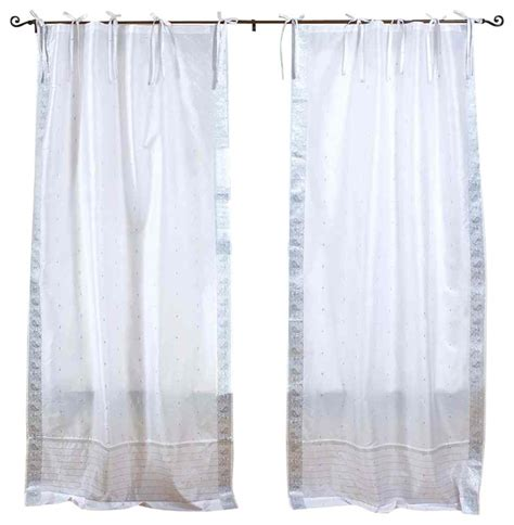 pair of white silver tie top sheer sari cafe curtains 43