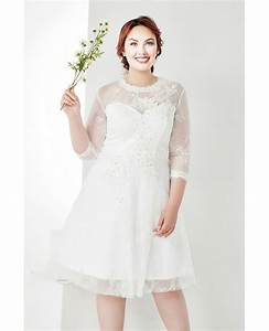modest plus size white lace 3 4 sleeves short wedding With 3 4 sleeve short wedding dress