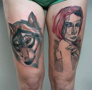 Tatouage Loup Graphique : tatouage t te de loup et femme rousse inkage ~ Mglfilm.com Idées de Décoration